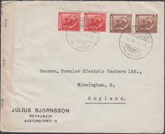 1945. . 2 X 5 Aur + 2 X 25 Aur REYKJAVIK 22. III. 45. To Birmingham, England. OPENED ... (Michel 216) - JF310264 - 1918-1944 Administration Autonome
