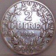 STATO PONTIFICIO PAPA PIO IX 2 Lire 1867 Argento Silver - Vaticano