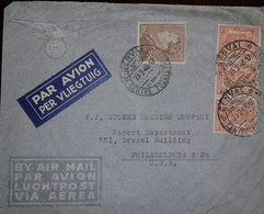 O) 1947 BELGIUM, KING LEOPOLD III SCT 302 10fr -COAT OF ARMS 266 5c, AIRMAIL TO USA - Belgium