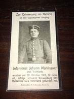 Sterbebild Wk1 Ww1 Bidprentje Avis Décès Deathcard RIR MENEN MENIN Block M Grab 2943 Aus Viechtach 30. Oktober 1917 - 1914-18