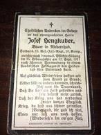 Sterbebild Wk1 Ww1 Bidprentje Avis Décès Deathcard RIR15 MENEN MENIN Block H Grab 3579 Aus Niedernhub 12. September 1917 - 1914-18