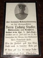 Sterbebild Wk1 Ww1 Bidprentje Avis Décès Deathcard IR7 BLANGY St. Laurent Blangy 15. Juli 1915 Aus Reichstorf - 1914-18