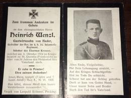 Sterbebild Wk1 Ww1 Bidprentje Avis Décès Deathcard IR16 ST. QUENTIN Block 2 Grab 286 3. Oktober 1914 Aus Hader - 1914-18
