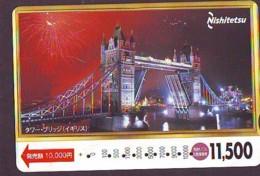 Carte Prépayée Japon * ANGLETERRE * ENGLAND * TOWER BRIDGE * LONDON (332) GREAT BRITAIN Related *  Prepaid Card Japan * - Landscapes