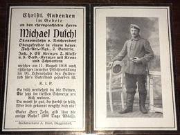 Sterbebild Wk1 Ww1 Bidprentje Avis Décès Deathcard Fuss AR 6 SOMME RANCOURT Bl. 4 Grab 338 Reichersdorf 11. August 1918 - 1914-18