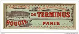 ETIQUETTE DE BOUGIE DU TERMINUS - GARE SAINT - LAZARE - PARIS -TRIPLE PRESSION - PURE SAPONIFICATION - Andere