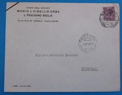 1957 Italia Storia Postale Avvocati  Erba Sicilia Corrispondenza Pacchi Brescia / Desenzano Del Garda   Lire 25 - 6. 1946-.. Repubblica