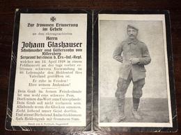 Sterbebild Wk1 Ww1 Bidprentje Avis Décès Deathcard Ersatz IR3 14. April 1918 Aus Killersberg - 1914-18