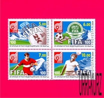 KYRGYZSTAN 2004 Sports Sport Football Soccer FIFA Centenary Block Of 4v Sc225 Mi390-393 MNH - Kyrgyzstan