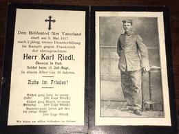 Sterbebild Wk1 Ww1 Bidprentje Avis Décès Deathcard IR21 8. Mai 1917 Aus Hub - 1914-18