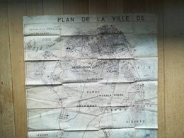 Vieux Plan De La Ville De Kinshasa Ex - Léopoldville   Congo Zaïre Ancienne Colonie Belgique Vieux Papiers Cartes - Disegno Tecnico