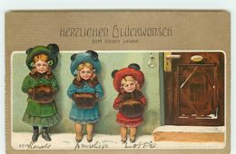 N°11840 - Carte Gaufrée - Herzlichen Glückwunsch Zum Neuen Jahre - Fillettes Près D'une Porte - Nouvel An