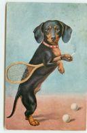 N°11847 - Carte Fantaisie - Teckel Fumant Et Tenant Une Raquette - Hunde