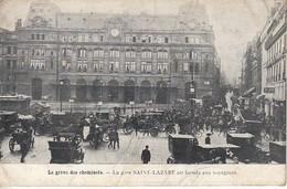 La Grève Des Cheminots La Gare Saint Lazare Est Fermée Aux Voyageurs Carte Pli Central - Grèves