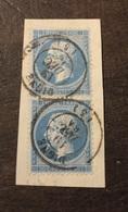 PAIRE VERTICALE N° 22  NAPOLEON 20 C BLEU CACHET DE DIGNE TRES PROPRE - 1862 Napoléon III