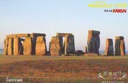 Carte Prépayée Japon * ANGLETERRE * ENGLAND *  STONEHENGE  (342) GREAT BRITAIN Related *  Prepaid Card Japan * - Landscapes