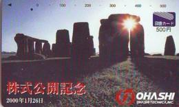 Télécarte Japon ANGLETERRE * ENGLAND * STONEHENGE  (344) GREAT BRITAIN Related *  Phonecard Japan * - Paisajes