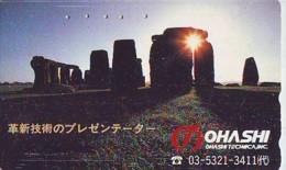 Télécarte Japon ANGLETERRE * ENGLAND * STONEHENGE  (345) GREAT BRITAIN Related *  Phonecard Japan * - Landschaften