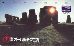 Télécarte Japon ANGLETERRE * ENGLAND * STONEHENGE  (346) GREAT BRITAIN Related *  Phonecard Japan * - Paisajes