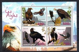 VIGNETTES DE FANTAISIE - BURKINA FASO - BIRDS - EAGLES - M/S - B/F - 2016 - - Vignettes De Fantaisie