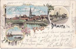 Gruss Aus DÖMITZ Color Litho Gesamtansicht Elbbrücke Hafen Bahn 7.8.1898 Gelaufen - Dömitz