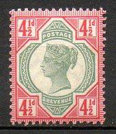 GRANDE BRETAGNE - 1887-1900 - N° 98 - 4 1/2 D. Rouge Carminé Et Vert - (Cinquantenaire Du Règne De Victoria) - 1840-1901 (Victoria)