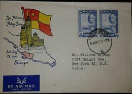 O) 1957 MALAYA SELANGOR-MALAYSIA, SULTAN HISAMUD DIN ALAM SHAH SCT 10c 20c, AIRMAIL TO USA - Malaysia (1964-...)