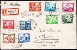 1934. DEUTSCHE NOTHILFE WAGNER 9 Ex. HAMBURG 27.3.34. Rec. (Michel 499-507) - JF182026 - Allemagne