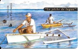 CARTE-PUCE-POLYNESIE-60U-PF84A-GEMB-Fond De Puce Noir-04/99-La PECHE Au LAGON-UTILISE-TBE-LUXE - French Polynesia