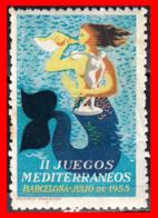 ESPAÑA SELLO VIÑETA. II JUEGOS MEDITERRÁNEOS. BARCELONA… JULIO DE 1955 - Spanish Civil War Labels