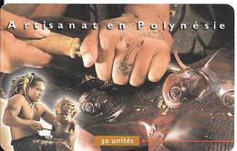 CARTE°-PUCE-POLYNESIE-30U-PF87-GEMA -07/99  -SCULTEUR SUR BOIS-UTILISE-TBE - French Polynesia