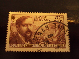 """1939     -timbre Oblitéré N°   437   """"  Claude Debussy      """"      Côte    2.75     Net     0.90 - 1900-02 Mouchon"""