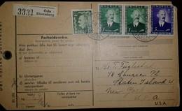 O) 1957 CIRCA-NORWAY, KING HAAKON VII SC 275 1k-SCT 278 5k -KING HAAKON VII SCT 345 25o,POSTAL CARD FROM OSLO TO USA - Norway