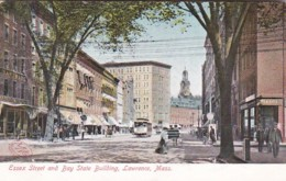 Massachusetts Lawrence Trolley On Essex Street And Bay State Building 1906 - Lawrence
