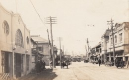 Unidentified City Likely Japan (China?), Street Scene Business Signs, Street Car, C1910s/20s Vintage Real Photo Postcard - Japan