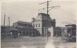 Osaka Japan, Street Car Going Past Train Station, C1900s/10s Vintage Postcard - Osaka