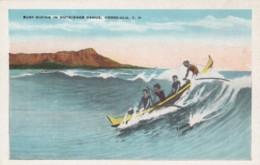 Honolulu Hawaii, Surf Riding Waikiki Beach, Outrigger Canoe C1910s/20s Vintage Postcard - Honolulu