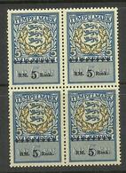 ESTLAND Estonia 1941 German Occupation Stempelmarke Documentary 5 RM In 4-Block MNH NB! - Occupation 1938-45