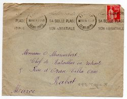 """1934--Lettre De FECAMP-76 Pour RABAT (Maroc)-type Paix N°283 -cachet Mécanique """"Port,Belle Plage-Abbatiale""""-cachet Rabat - Storia Postale"""