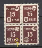 ESTLAND Estonia 1941 Dt. Okkupation Dorpat Tartu Michel 1 Y As 4-block + PLATTENFEHLER Abart ERROR MNH - Besetzungen 1938-45