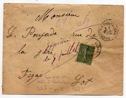 """1918--Lettre Pour FIGEAC-46--type Semeuse-cachet Ambulant """"Castres à Montauban"""" - Storia Postale"""
