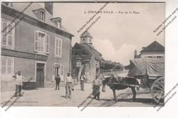 CPA Animée Joux La Ville (89) : Vue De La Place Hôtel Café Des Voyageurs - France