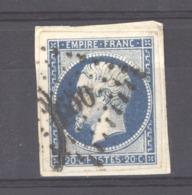 CLX 2545  -  France  :  Yv  14 A  (o)  Variété Suarnet 27  =  Encoche Filet Inférieur - 1853-1860 Napoleon III