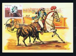 Bullfight Corrida Toureio A Cavalo Jobs Horses Bulls Animals Maximum Cards Portugal (1996 TRIPLE Commemorative-pmk Mc721 - Jobs