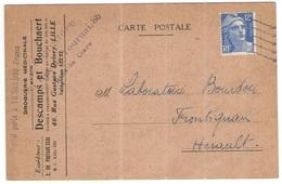 FRANCIA - France - 1950 - 12F Marianne De Gandon - Descamps Et Bouchaert - Carte Postale - Viaggiata Da Lille Per Fronti - 1945-54 Maríanne De Gandon