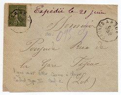 """1916--Lettre Pour FIGEAC-46--type Semeuse-cachet Ambulant """"CAUNES  à  MOUX """"--Aude - Storia Postale"""