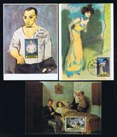 Paintings Peinture Arts España 3x Maximum Cards Museum PICASSO Barcelona Fdc-pmk Mc730 - Picasso