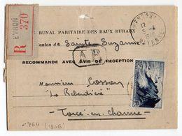 1948--Lettre Recommandée De EVRON-53  Pour TORCE EN CHARNIE-53 - Timbre N° 764  Seul Sur Lettre- Courrier - Postmark Collection (Covers)