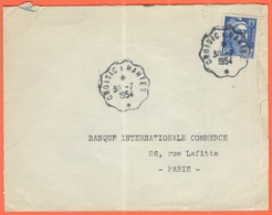 FRANCIA - France - 1954 - 15F Marianne De Gandon + Special Cancel Ambulant - Cachet Convoyeur De Croisic à Nantes - Viag - Francia