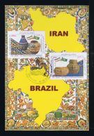 Handicraft Artesanate Ceramics Flags Amicalel BRAZIL Diplomatic Relations IRAN Maximum Cards Mc734 - Porcelain